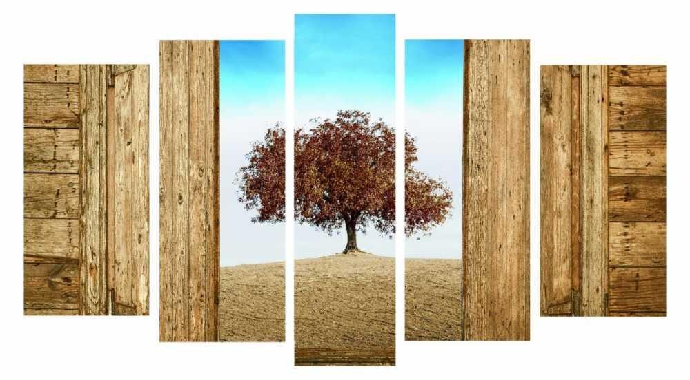 5 Parça Çınar Ağacı Manzaralı Kanvas Tablo