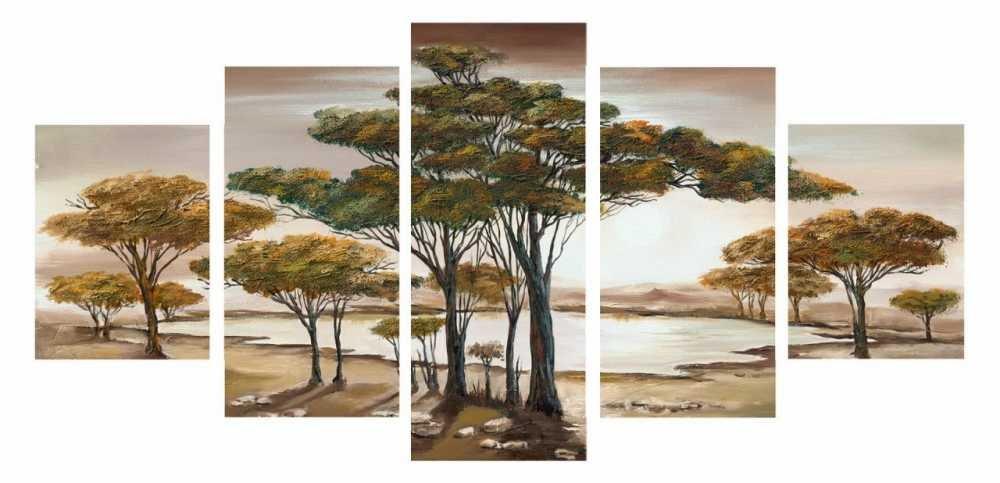 5 Parça Doğa Manzaralı Kanvas Tablo