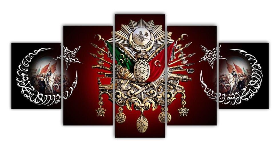 5 Parça Fatih Sultan Mehmed Han Resimli Osmanlı Armalı Kanvas Tablo