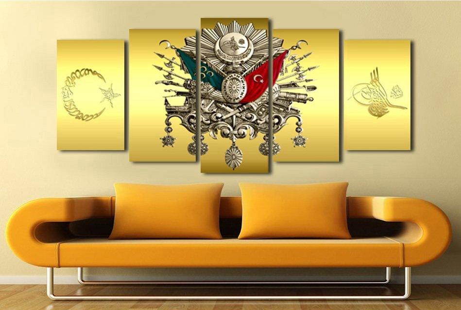 5 Parça Gold Zemin Osmanlı Arma Kanvas Tablo