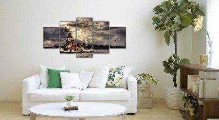 5 Parça Kız Kulesi Manzaralı Kanvas Tablo - Thumbnail