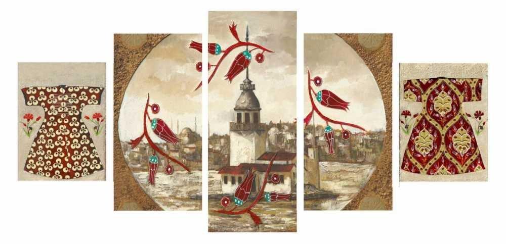 5 Parça Lale Tasarım Kız Kulesi Kanvas Tablo