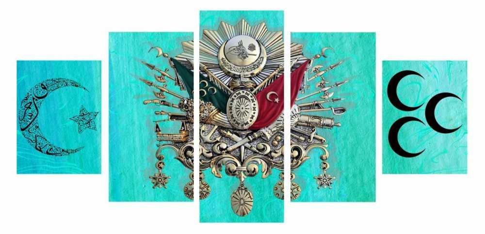 5 Parça Okyanus Rengi Üç Hilal Osmanlı Arma Kanvas Tablo
