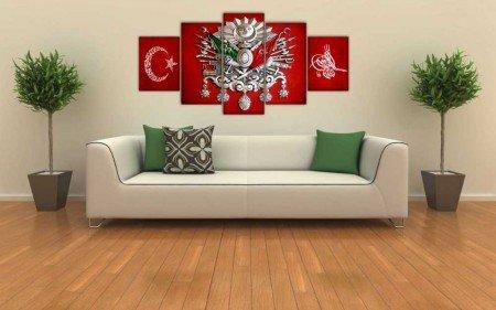 5 Parça Osmanlı Devlet Armalı Ayyıldız Tuğralı Kanvas Tablo - Thumbnail
