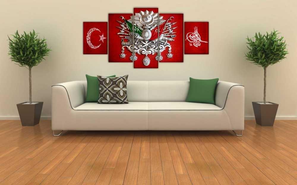 5 Parça Osmanlı Devlet Armalı Ayyıldız Tuğralı Kanvas Tablo
