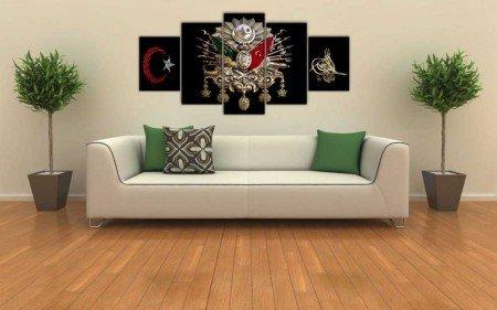 5 Parça Osmanlı Devlet Armalı Ayyıldızlı Tuğralı Kanvas Tablo - Thumbnail