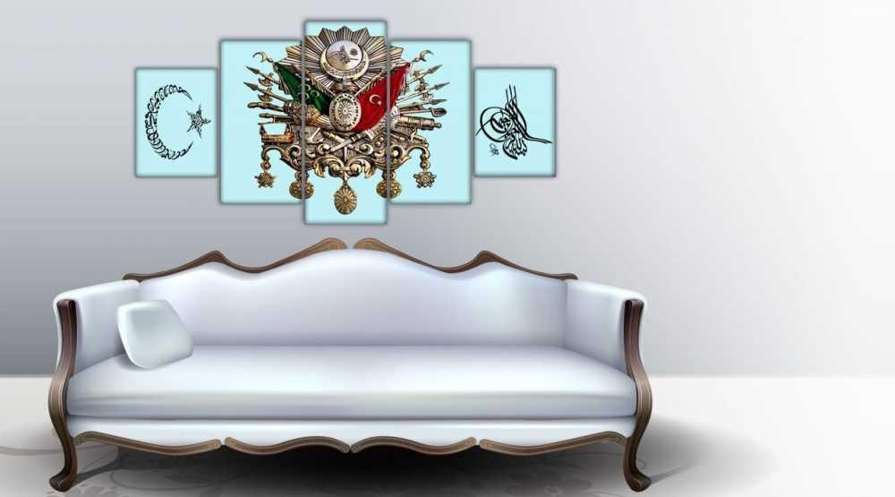 5 Parça Osmanlı Devlet Armalı Ayyıldızlı Tuğralı Kanvas Tablo(Model-2)
