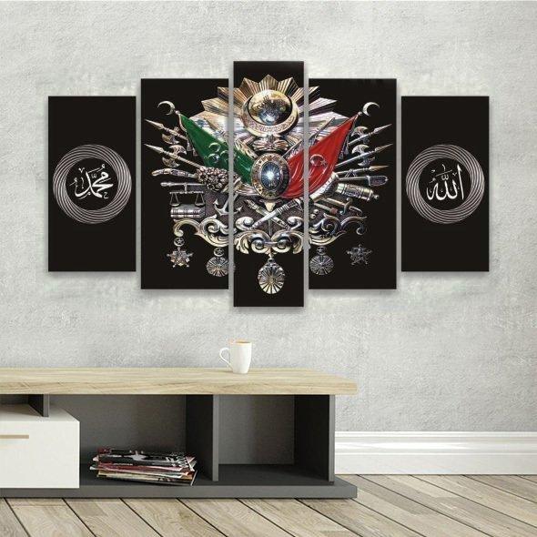 5 Parça Osmanlı Devlet Armalı Siyah Fonlu Kanvas Tablo