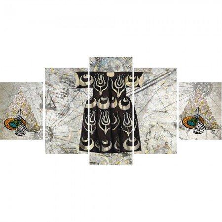 5 Parça Osmanlı Kaftan ve Tuğra Temalı Kanvas Tablo - Thumbnail