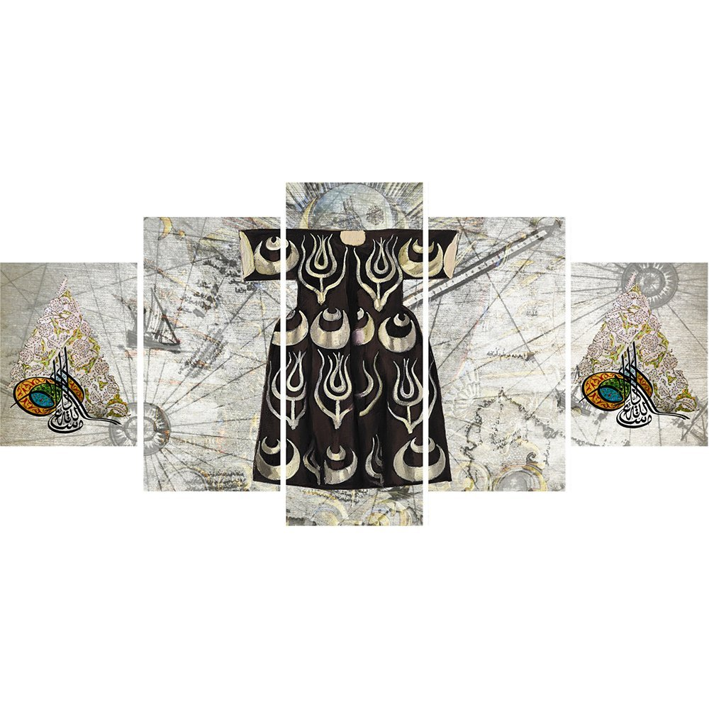 5 Parça Osmanlı Kaftan ve Tuğra Temalı Kanvas Tablo