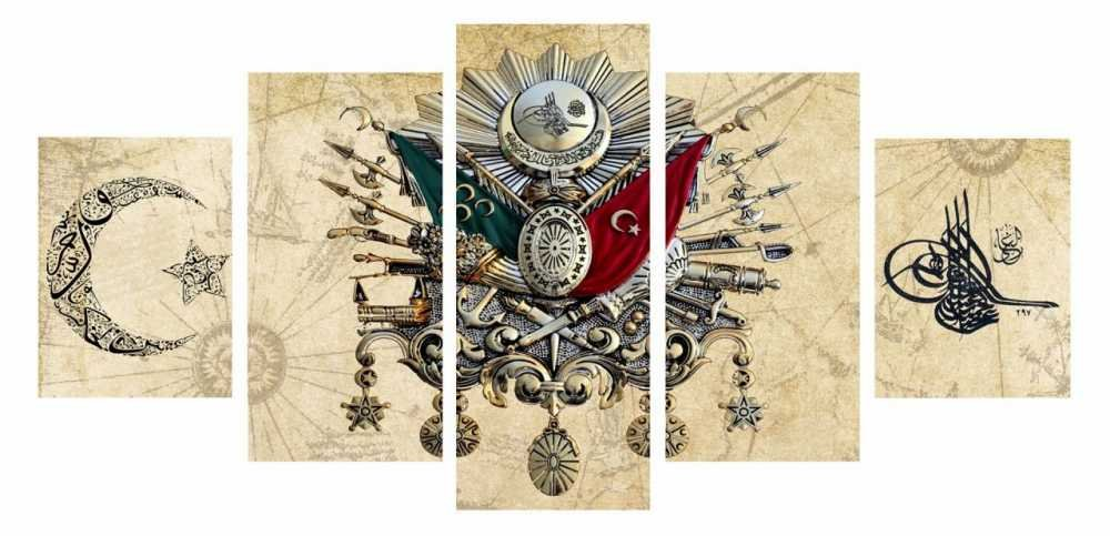 5 Parça Osmanlı Tasarım Kanvas Tablo