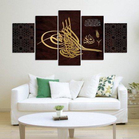 5 Parça Osmanlı Tuğra Temalı Kanvas Tablo - Thumbnail