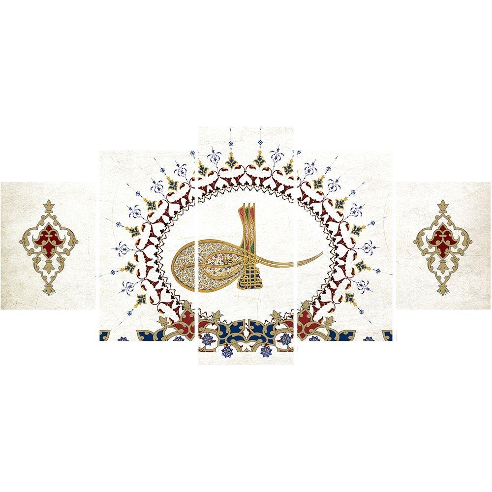 5 Parça Osmanlı Tuğra Temalı Kanvas Tablo (Model-3)