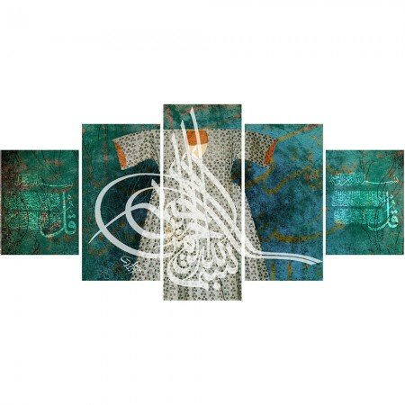 5 Parça Osmanlı Tuğra ve Kaftan Temalı Kanvas Tablo (Model-3) - Thumbnail