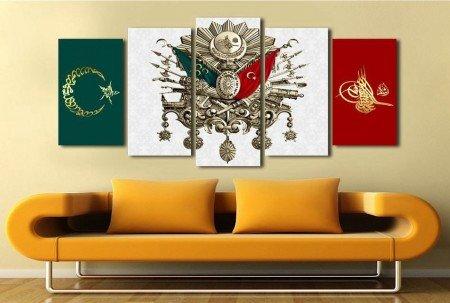 5 Parça Özel Tasarım Osmanlı Arma Kanvas Tablo - Thumbnail