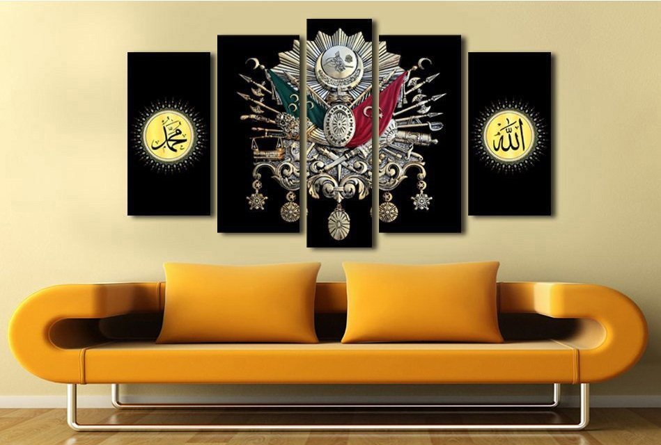 5 Parça Siyah Zemin Osmanlı Tasarım Kanvas Tablo