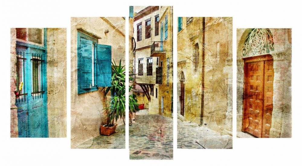 5 Parça Sokak Temalı Kanvas Tablo
