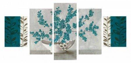 5 Parça Turkuaz Çiçek Tasarım Kanvas Tablo - Thumbnail