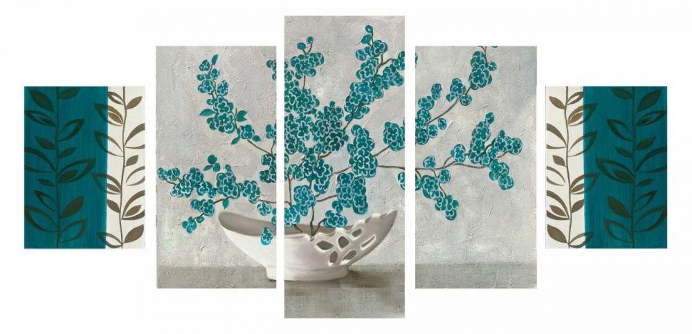5 Parça Turkuaz Çiçek Tasarım Kanvas Tablo