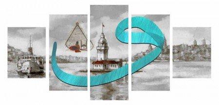 5 Parça Vav Tasarım Kız Kulesi Kanvas Tablo - Thumbnail