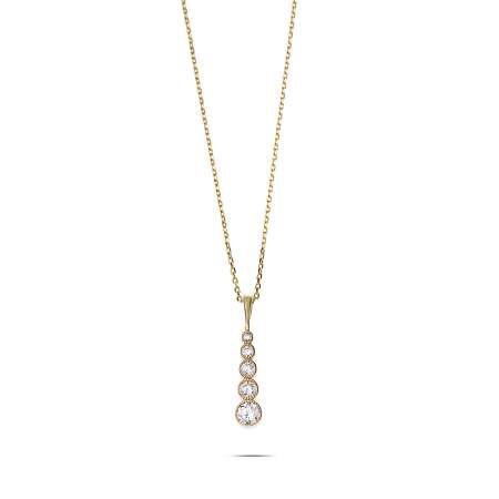 5'li Damla Tasarım Zirkon Taşlı Gold Renk 925 Ayar Gümüş Bayan Kolye - Thumbnail