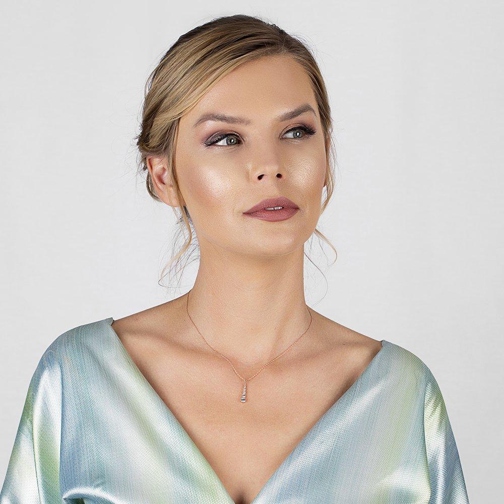 5'li Damla Tasarım Zirkon Taşlı Roz Renk 925 Ayar Gümüş Bayan Kolye