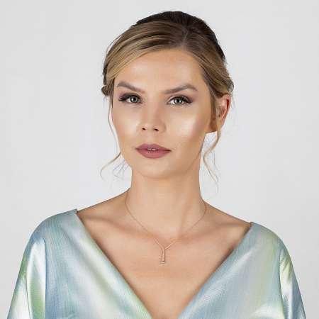 5'li Damla Tasarım Zirkon Taşlı Roz Renk 925 Ayar Gümüş Bayan Kolye - Thumbnail