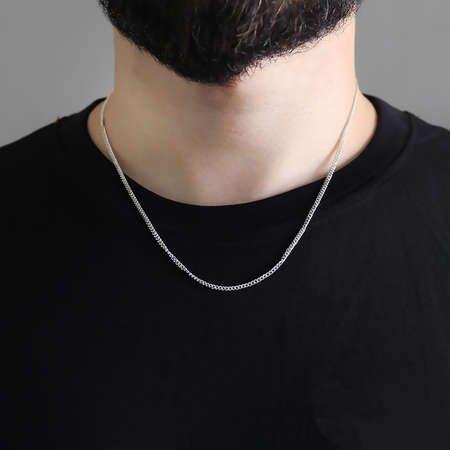 925 Ayar Gümüş 50 cm 60 Mikron Gurmet Gümüş Erkek Zincir Kolye - Thumbnail