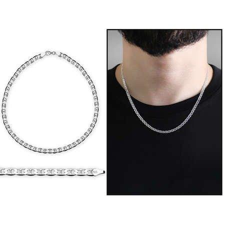 925 Ayar 50 cm 80 Mikron Barlı Gümüş Erkek Zincir Kolye - Thumbnail