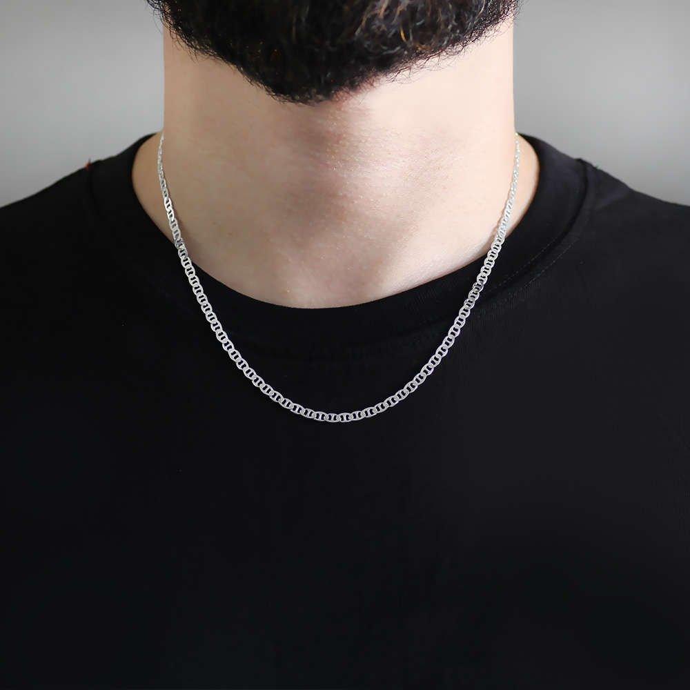 925 Ayar 50 cm 80 Mikron Barlı Gümüş Erkek Zincir Kolye