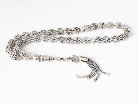 925 Ayar Arpa Model Gümüş Tesbih - Thumbnail