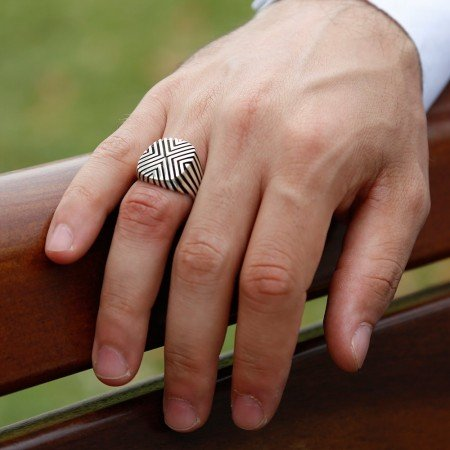 925 Ayar Çizgili Gümüş Yüzük - Thumbnail
