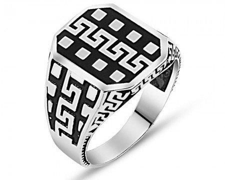 925 Ayar Desenli Gümüş Yüzük (model 2) - Thumbnail