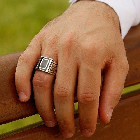925 Ayar Desenli Gümüş Yüzük (model-6) - Thumbnail