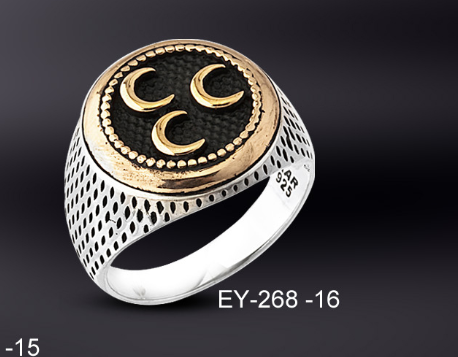 925 Ayar Gümüş 3 Hilal İşlemeli Oval Model Yüzük