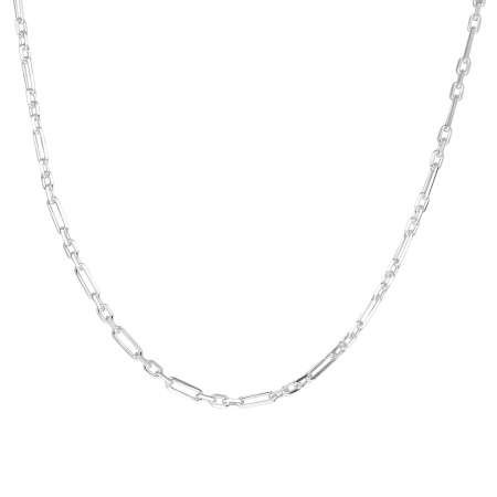 925 Ayar Gümüş 3+1 Figaro Bayan Zincir Kolye - Thumbnail