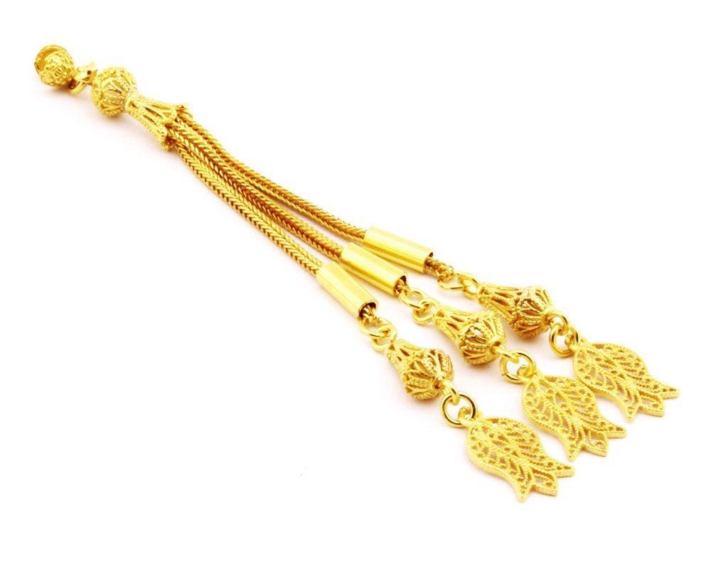 Lale Motifli Telkari Model Gold Renk 3'lü 925 Ayar Gümüş Püskül