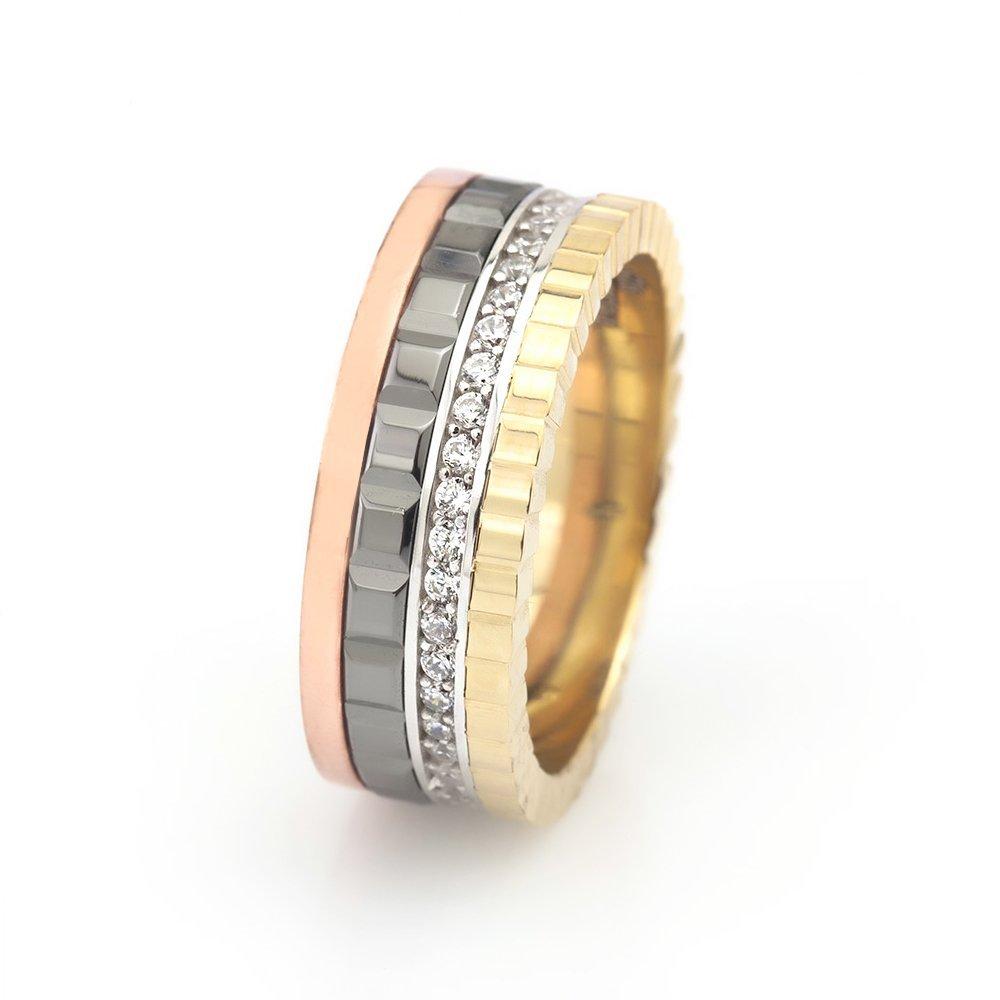 Dört Renk Tasarım Zirkon Taşlı 925 Ayar Gümüş Bayan Alyans