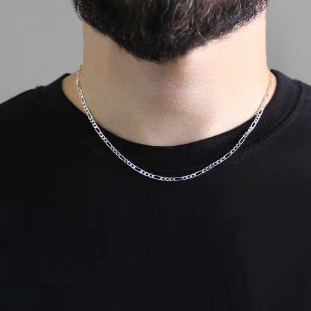 925 Ayar Gümüş 45 cm 60 Mikron figaro Erkek Zincir Kolye - Thumbnail