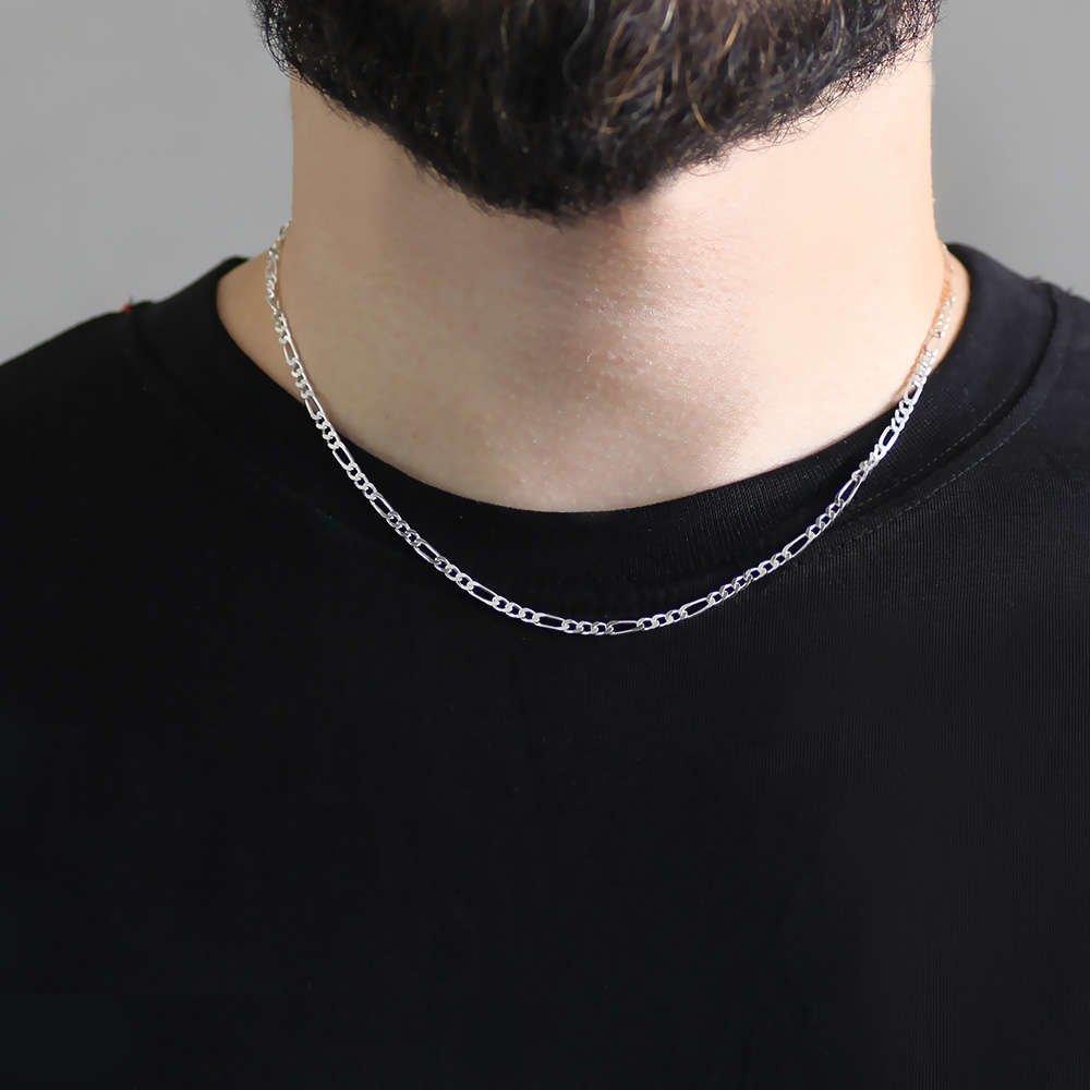 925 Ayar Gümüş 45 cm 60 Mikron figaro Erkek Zincir Kolye