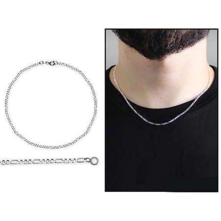 925 Ayar Gümüş 45 cm 80 Mikron Figaro Erkek Zincir Kolye - Thumbnail