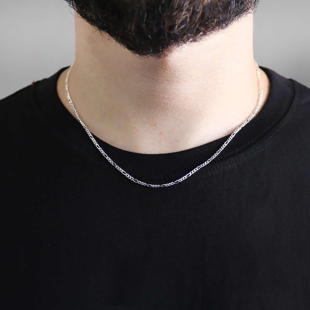925 Ayar Gümüş 45 cm 80 Mikron Figaro Erkek Zincir Kolye