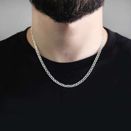 925 Ayar Gümüş 50 cm 100 Mikron Barlı Erkek Zincir Kolye - Thumbnail