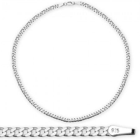 925 Ayar Gümüş 50 cm 120 Mikron Gurmet Erkek Zincir Kolye - Thumbnail