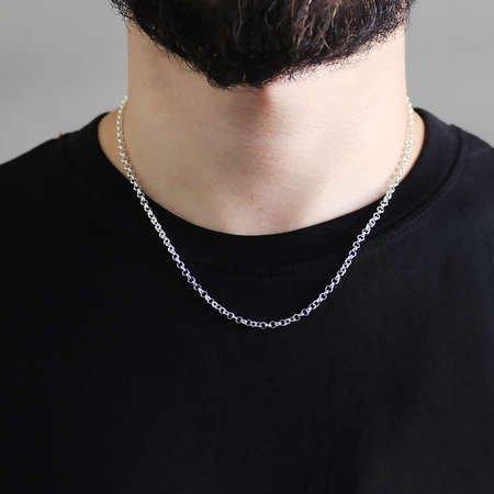 925 Ayar Gümüş 50cm 80 Mikron Doç Erkek Zincir Kolye - Thumbnail