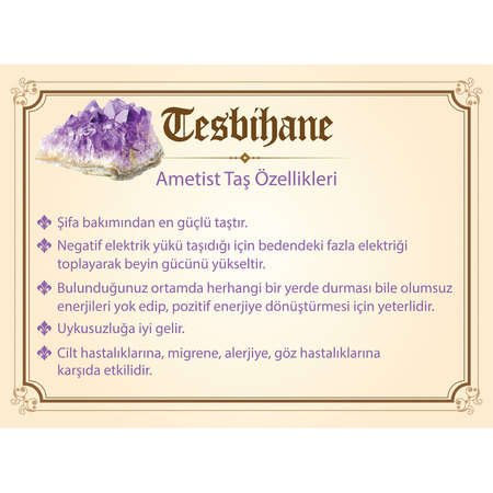 925 Ayar Gümüş 99'luk Ametist Tesbih - Thumbnail