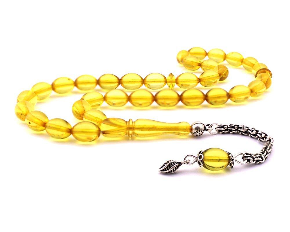 925 Ayar Gümüş Açık Sarı Renk Su Damlası Kehribar Tesbih