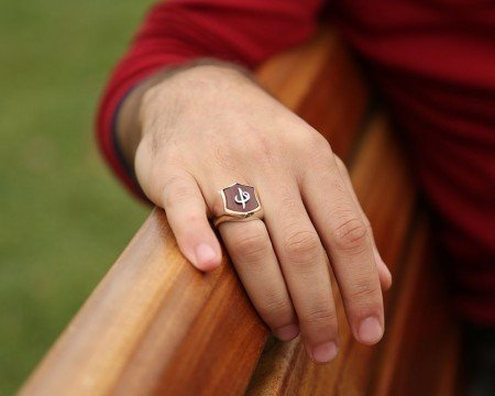 Elif Vav Tasarım Kırmızı Akik Taşlı 925 Ayar Gümüş Erkek Yüzük - Thumbnail