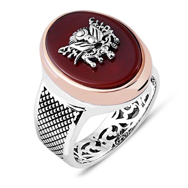 925 Ayar Gümüş Akik Taşlı Osmanlı Sancağı Yüzük
