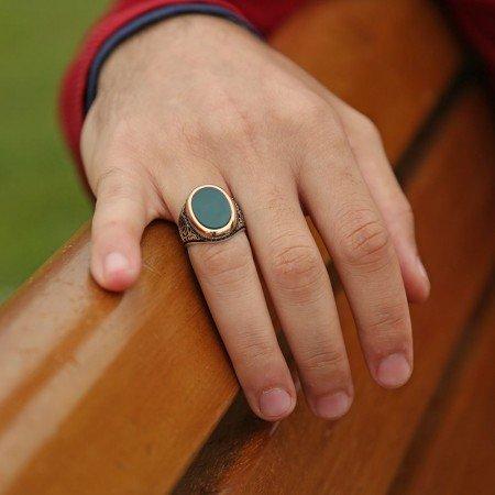 925 Ayar Gümüş Akik Taşlı Oval Model Yüzük - Thumbnail